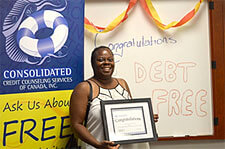Tanya Hayden graduates from a debt management program