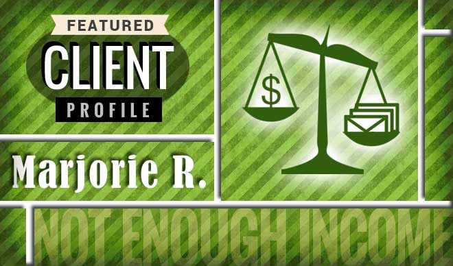 Marjorie R. Client Profile Graphic