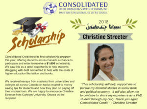 Scholarship Recipient for the 2018 Consolidated Credit Counseling Services of Canada Scholarship Program