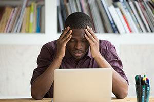 Frustrated black man finances