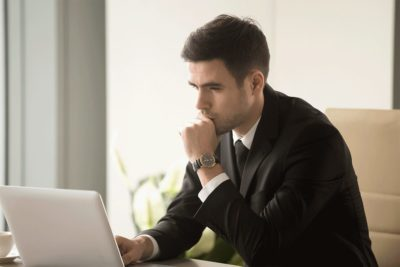Man learning about the types of bankruptcy