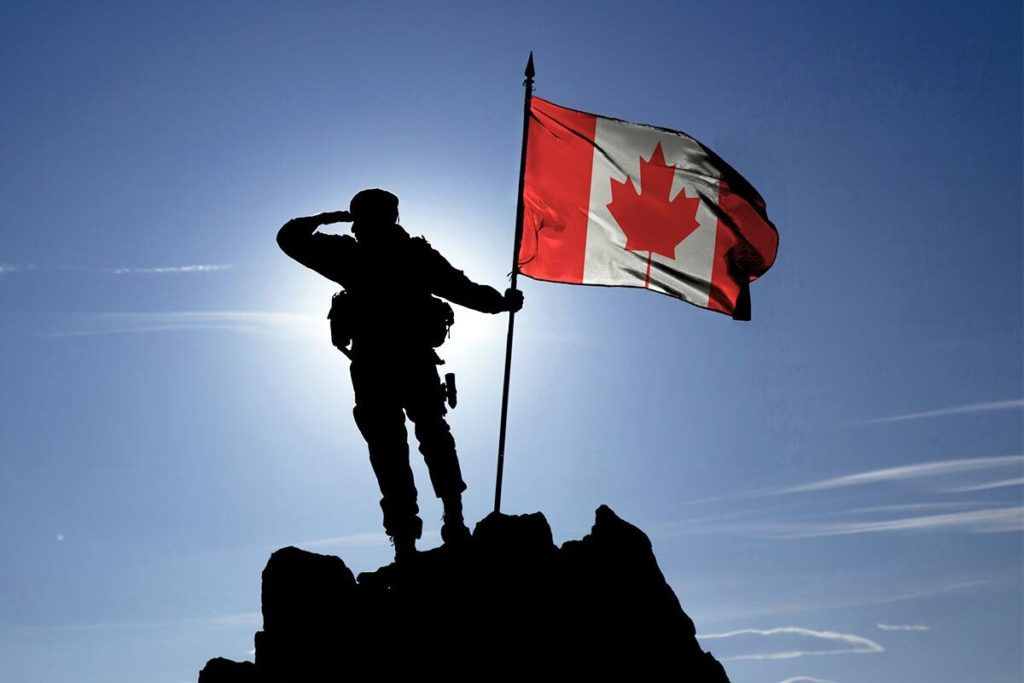 veteran with the Canadian flag