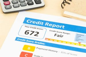 Credit report with a fair credit score
